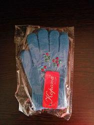 Перчатки новые голубые девочке на 3-5 лет