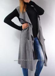 Удлиненный жилет с карманами, разные цвета