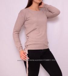 Женский пуловер со шнуровкой по бокам, разные цвета