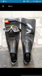 Набор для плавания маска, трубка, ласты intex