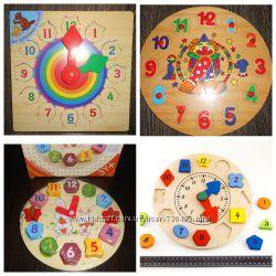 Деревянные Часы сортер, цифры, много разных. В наличии.