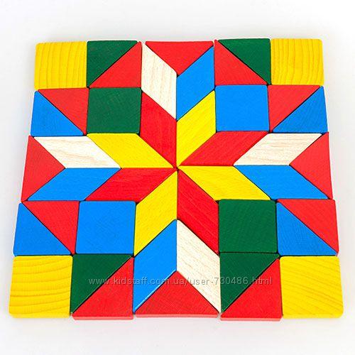 Деревянная геометрическая мозаика, Геометрия ТАТО. В наличии.