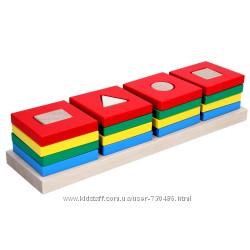 Komarovtoys деревянная пирамидка Цветной квартет А344. В наличии.
