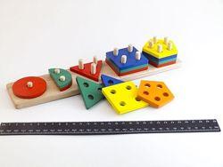 Деревянная пирамидка сортер Геометрик Счет на 5 фигур 90009, Розумний Лис