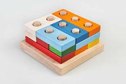 Деревянная головоломка пирамидка Цветные плашки, ТАТО. В наличии.