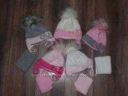Шапка зимняя с шарфом для девочки Цветочки, тм Ambra, Польша-скидки