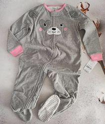 5, 6 лет, Теплая флисовая пижама Картерс, Carters, флис, слип, человечек