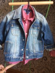 Джинсовая куртка и рубашка 3-4 года