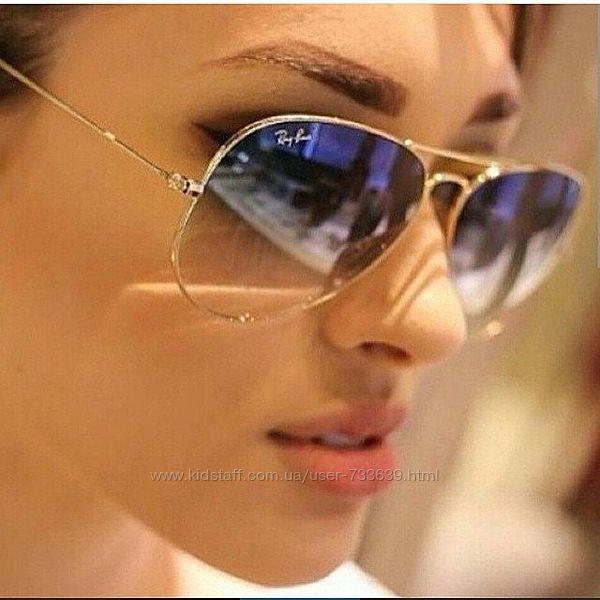 Стильные очки авиаторы полупрозрачные градиент стекло линзы