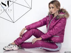 Зимний утепленный женский комплект на синтепоне розовый и черный 42 44 46