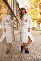 Стильное теплое, трендовое стеганое женское пальто 42 44 46