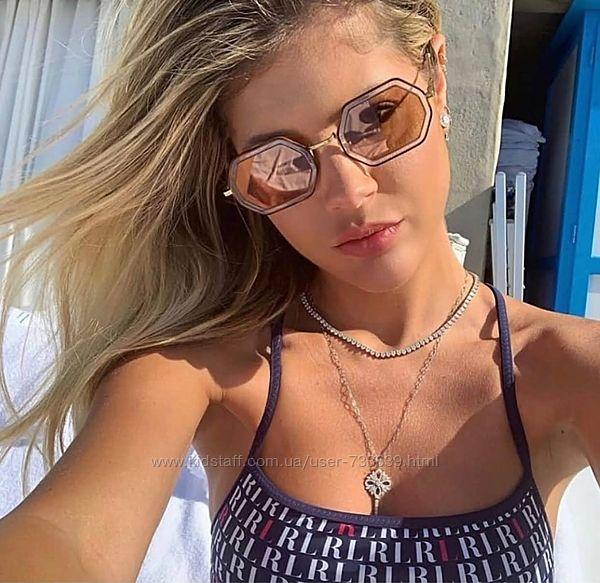 Женские солнцезащитные очки коричневые линзы с переходом