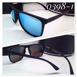 Мужские солнцезащитные очки зеркальные голубые линзы матовая оправа