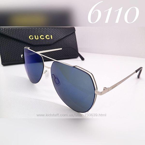 Стильные солнцезащитные очки авиаторы зеркальные Gucci поляризация линз