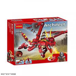Конструктор Decool 3120 Architect Creator Красный дракон 3 в 1, 486 деталей