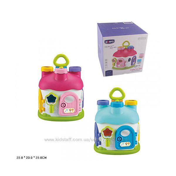 Детский игровой домик сортер Abero 91162 4 погремушки, дверцы, розовый, гол