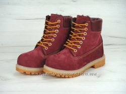 Ботинки с мехом Timberland бордовые р. 36-40