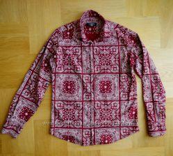 168-172 см Zen&Zen какновая бордовая рубашка хлопок. Длина - 69 см, ширина
