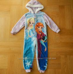 98-104 см Disney с Эльзой шикарный меховой комбинезон человечек пижама