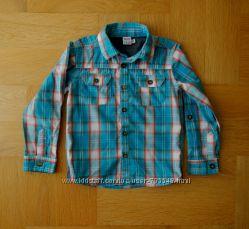 92-98 см Miniclub бирюзовая стильная рубашка хлопок клетка