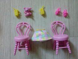 Мебель посуда еда из набора Дом развлечений Челси barbie оригинал