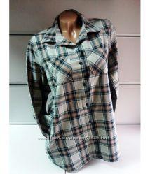 Рубашка женская, в клетку, плотная, хлопок, Rue 21