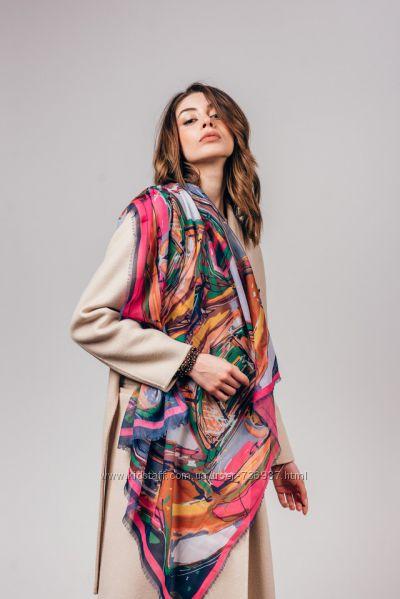 Яркие весенние платки, принт абстракция
