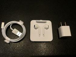 Наушники EarPods Адаптер питания кубик . USB кабель. Зарядка. Шнур. Apple.