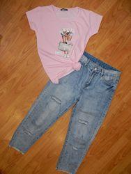 Костюм футболка и джинсы моммы. Размер М-Л