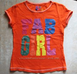Яркая оранжевая футболка Fab Girl от Y. d, на 122-128 рост