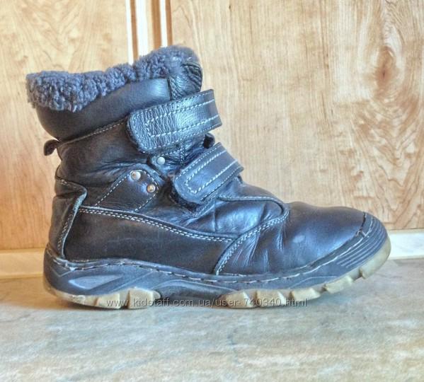Зимние кожаные ботинки KLF 38р, стелька 22, 8 см, мальчику