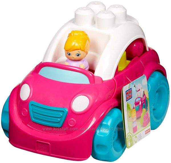 Mega Bloks Pink Convertible Building Set Конструктор машинка для девочки