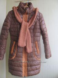 Куртка-пальто с вязаным капюшоном. Снизила цену