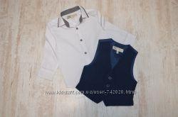Белая рубашка и жилет на 12-18 мес