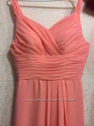 Платье длинное нарядное выпускное персикового цвета