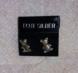 Новые серьги- гвоздики Teddy bear, серебро