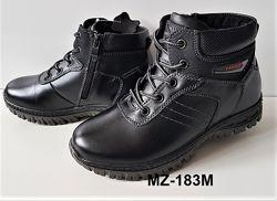 Кожные  зимние ботинки на  меху  р. 31-36