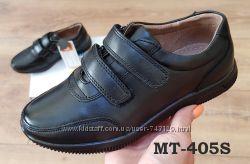 Кожаные мокасины, туфли на липучках  подросток