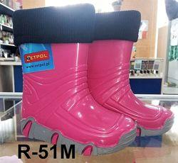 Резиновые сапоги с съемным носком для девочек р.21-36