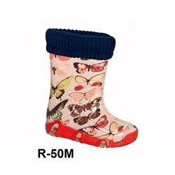 Резиновые сапоги с съемным носком для девочек р.23-36