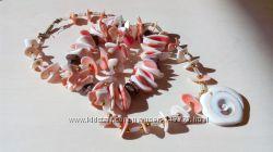Комплект из ракушек бусы и браслет