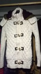 Вязанная куртка - свитер с мехом TAZZIO 14-420  S  M