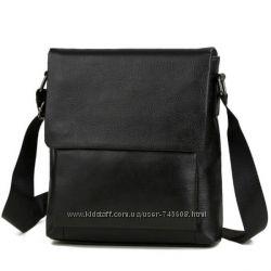 Мужская кожаная недорогая сумка на плечо. Черная и коричневая.