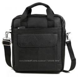 Черная мужская сумка в руку и на плечо формата А4