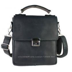 Кожаная удобная барсетка - мужская сумка на плечо черная