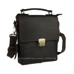 Кожаная темно-коричневая барсетка - сумка на плечо для мужчин