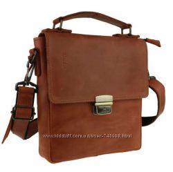 Светло-коричневая кожаная сумка мужская на плечо - барсетка