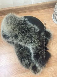 Тёплая шапка кожа натуральный мех