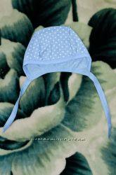 Шапочка для новорожденного, р. 56-62, голубая в белый горошек