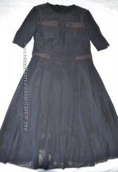 Дизайнерское деми платье сетка кожа